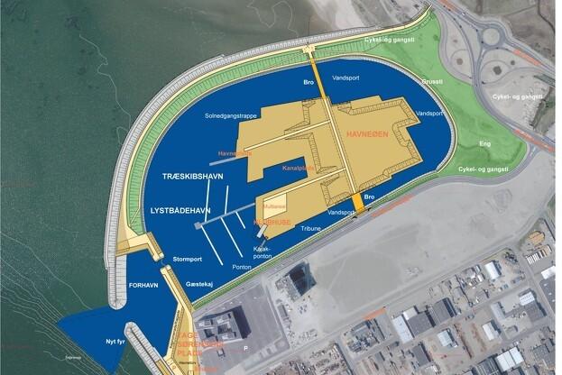 Kystlinjen ved Esbjerg får en ny profil, når den kunstige havneø med tilhørende dæmning og forhavn etableres i det ambitiøse projekt Esbjerg Strand.