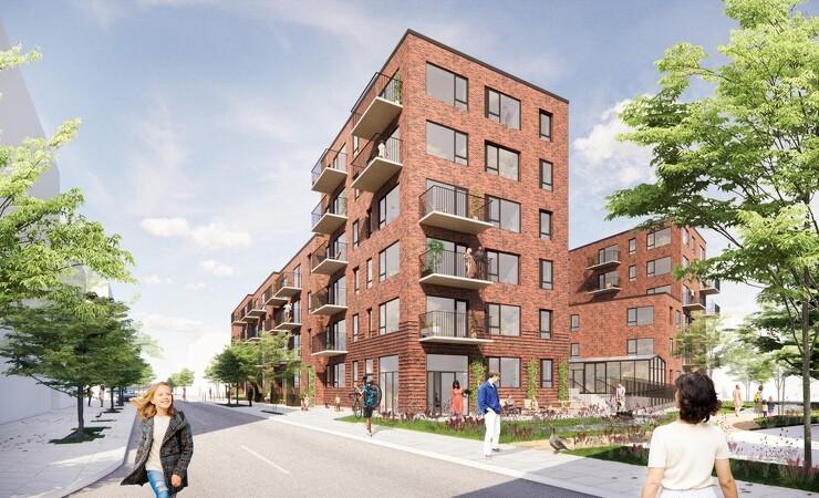 Ny boligkarré inspireret af pakhuse er en hilsen til havnen i Køge