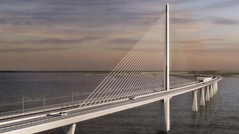 De første materialer til Storstrømsbroen er landet